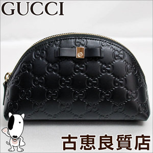 Gucci Shima Leather Pouch 431409 Cwc 1 G 1000 Black