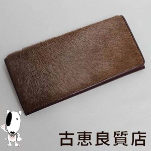 Horse Hair Folded Long Wallet With Zipper Tea Men's