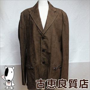 Loewe Jacket Cowhide Leather Suede Spain Men's 54 Half Coat Brown
