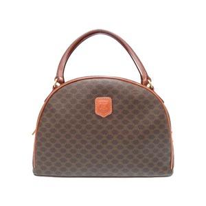 Celine Pearl Handbag Pvc Leather Brown Bag 0434 Ladies'