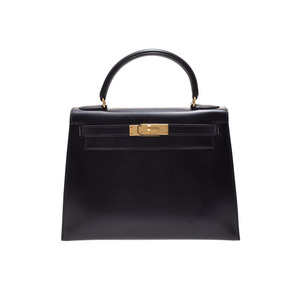 Hermes (Hermes) Kelly 28 Box Calf Black G Metal Fittings ○ V Stamped Outside Sewing Strap Bag