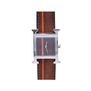 Hermes (Hermes) Ramsys Hh1.210 Brown Orange Dial Ss Leather Watch