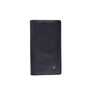 Chanel Camellia  Calfskin Long Wallet (bi-fold) Black