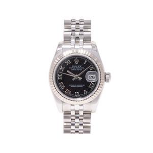 ロレックス デイトジャスト179174 WG SS Z番 黒文字盤 ルーレット刻印 自動巻 ROLEX  腕時計