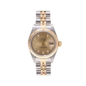 ロレックス デイトジャスト69173G T番 YG SS シャンパン文字盤 10Pダイヤ ROLEX   腕時計