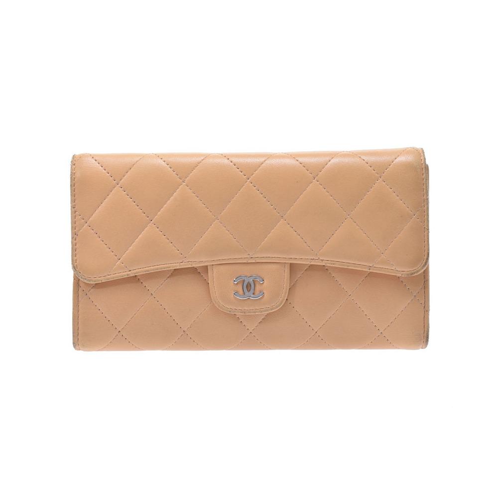 fbe4ab434ba7 Chanel Matelasse Lambskin Long Wallet (tri-fold) Beige