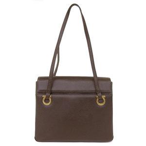 Salvatore Ferragamo Gancini Leather Shoulder Bag Dark Brown