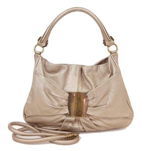 Salvatore Ferragamo Vara AB-21 B617 Women's Leather Handbag Brown,Gold
