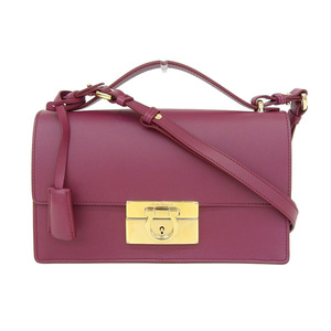 Salvatore Ferragamo Gancini Women's Leather Shoulder Bag Purple