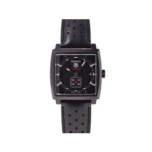 タグホイヤー モナコ キャリバー6 フルブラック WW2119 黒文字盤 裏スケ SS 革 箱 ギャラ TAG Heuer  腕時計
