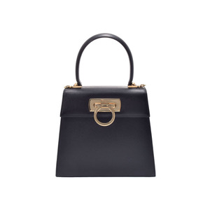 Salvatore Ferragamo Gancini Women's Leather Handbag,Shoulder Bag Black