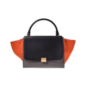 Celine Trapez Black Orange Gray Calf Suede Bag