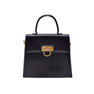 Salvatore Ferragamo Ferragamo Gancini Handbag Calf Black G Metallic Bag