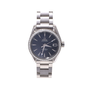 Omega Seamaster Aqua Terra Bezel Diamond 11p Ss Black Case Watch