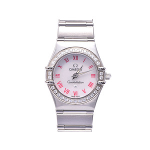 オメガ コンステレーション 1466.63 SS シェル文字盤 ダイヤベゼル クオーツ時計 OMEGA  腕時計