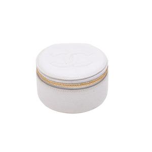 Chanel Jewelry Case Caviar Skin White G Bracket