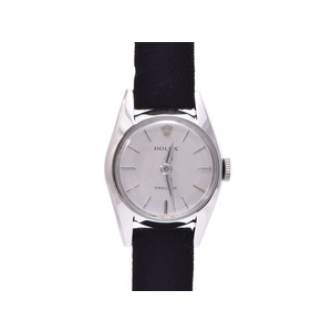 ロレックス プレジション アンティーク シルバー文字盤 手巻き SS 革 ROLEX  腕時計