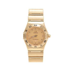 Omega Constellation Mini 1162.10 Yg Champagne Gold Dial Quartz Watch 66.0g Galla