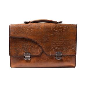 Berlutti Briefcase Calligraphy Venetian Leather Tea Berluti Bag