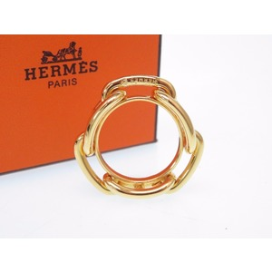 Hermes Schenn Dunkle Scarf Ring Metal Gold Accessory 0446