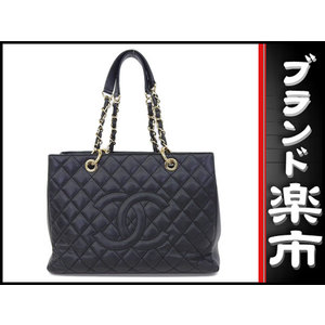 Chanel Chanel Caviar Skin Reprinted Chain Tote Bag Black 19 Series