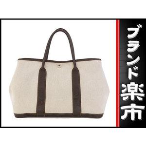 Hermes Hermes Towar Ash × Leather Garden Party Pm Beige Maron □ H Engraved Bag