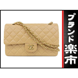 Chanel Chanel Lambskin W Flap Matrasse Chain Shoulder Bag Beige 3 Series