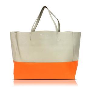 Celine Horizontal Kaba 16926 Beige × Orange Tote Bag Women's