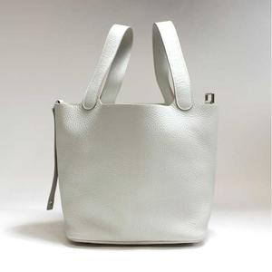 Hermes Picotan Rock Mm Triyon Clemence Pearl Gray Q Engraved Handbag Bag