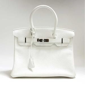 Hermes Birkin 30 Triyon Clemence White T Engraved Handbag Bag