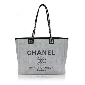 Chanel Deauville Line Tote Bag A67001 Gray Women's