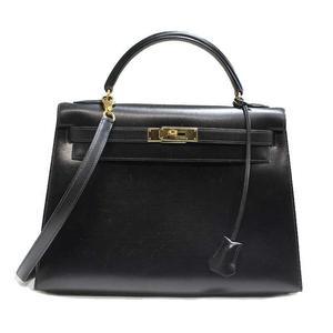 Hermes Kelly 32 Box Calf Black Z Engraved Handbag Bag