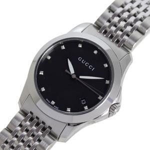 Gucci G Timeless Ya126505 Quartz 12p Diamond Black Shell Ladies Watch
