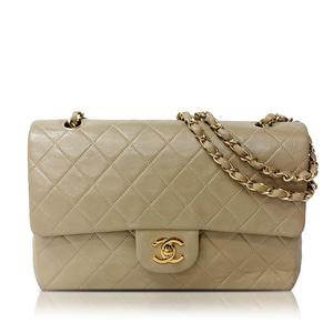 Chanel Matrasse Chain Shoulder Bag Lambskin Beige Women's