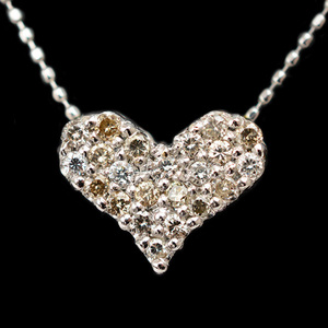 ノーブランド K18ホワイトゴールド(K18WG) ダイヤモンド レディース ネックレス カラット/0.5