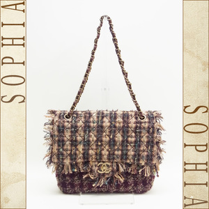 Chanel (13) Tweed Shoulder Bag Brown