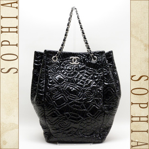 Chanel Cc Stitch Vinyl (Soft Enamel Style) Tote Bag A 38471 Black
