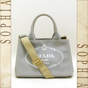 Prada (Prada) Kanapa 2 Way Tote Bag Canvas Gray