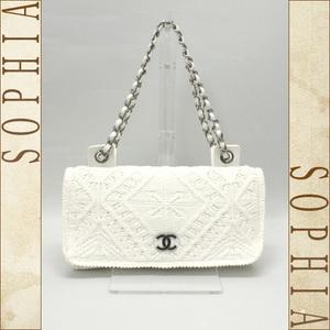 Chanel Cotton Knitting Chain Shoulder Bag White
