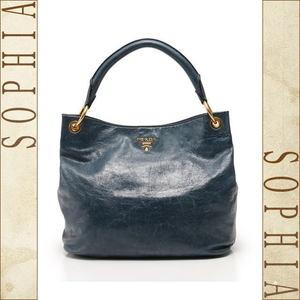 Prada Shoulder Bag Leather Vintage Blue