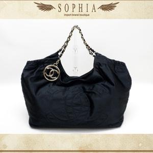 Chanel Coco Canvas Satin Chain Shoulder Bag Black