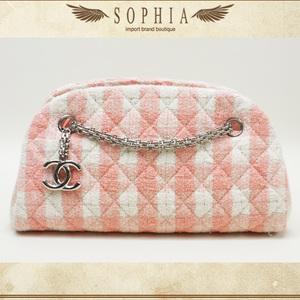 Chanel 11c Mademoiselle Tweed (Pile) Small Handbag White X Pink Bag