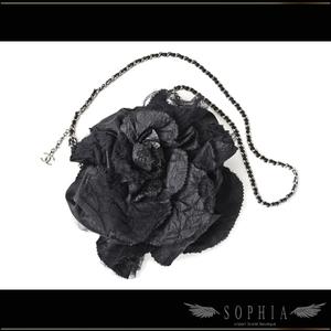 Chanel Camellia Party Bag Black Satin Rhinestone Coco Charm