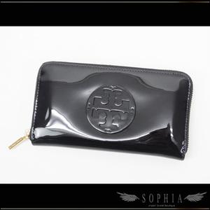 Tree Burch (Tory Burch) Enamel Round Zipper Wallet Black