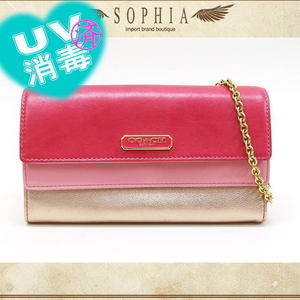 Coach (Coach) Double Flap Wallet With Chain Pink