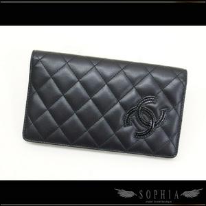 Chanel (Chanel) Simple Cc Matrasse Folded Long Wallet Black