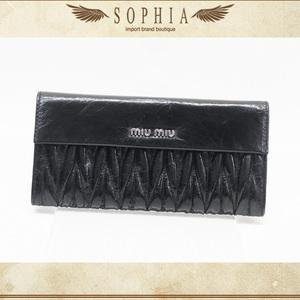 Miu (Miu Miu) Matrasse Flap Wallet Black