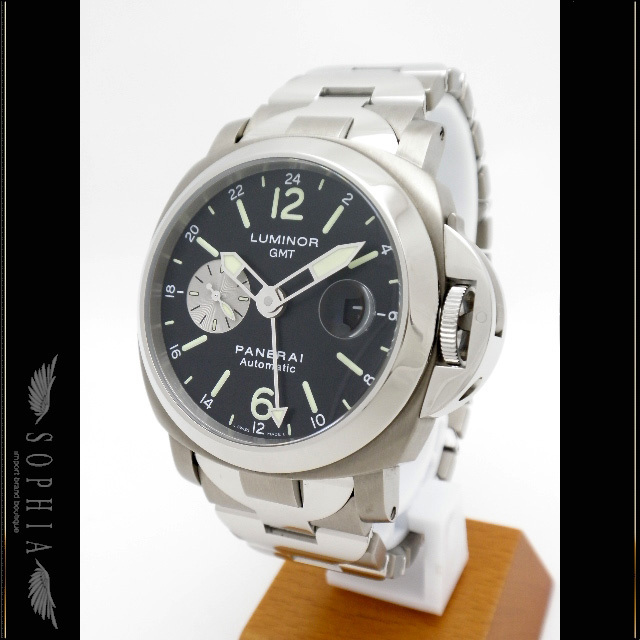 Officine Panerai Panerai Luminol Gmt Pam00161 Domestic Regular Goods Black Letter Board Ss × Titanium Men's Automatic Winding Watch