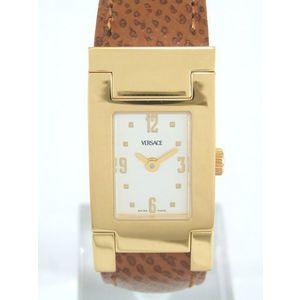 Versace Ladies' Quartz Watch Asq 90 Ss (Gold Plated) Tea Leather Belt Wrist