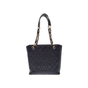 Used Chanel Chain Tote Bag Caviar Skin Black Gala